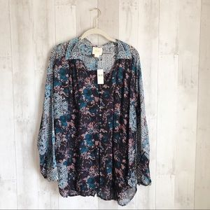 [Anthropologie] Mixed Print Floral Button Down Top